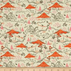 Cotton & Steel Tokyo Train Ride Countryside Cream from @fabricdotcom  Designed by Sarah Watts for Cotton + Steel, this cotton print is perfect for quilting, apparel and home decor accents. Colors include taupe, pink, and orange.