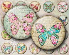 Floral Butterflies - Digital Collage Sheet -  1 Inch Circles - Round Images - Bottle cap Images - Magnet - Button - Pin - Jewelry Supplies