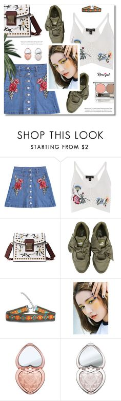 """""""Rosegal"""" by defivirda ❤ liked on Polyvore featuring Topshop, Puma, StyleNanda, Too Faced Cosmetics and Chantecaille"""