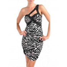 Wild Black White Zebra Print One Shoulder Fitted Dress White Zebra, Leggings, Zebra Print, One Shoulder, Black And White, Fitness, Clothes, Dresses, Fashion