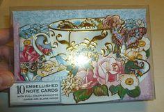 PUNCH STUDIO TEA CUP BUTTERFLY ROSE FLORAL GOLD FOIL FANCY 10  NOTE CARD SET