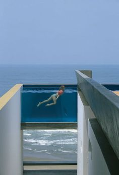 """EQUIS HOUSE POOL IN CAÛETE, PERU Architect Jean Pierre Crousse didn't just photograph this pool—he designed it and the rest of the house, with partner Sandra Barclay. """"I love this pool—very modern,"""" Klein says. """"It appears suspended in air, and the glass walls allow you to see through to the other side."""" Photo: Jean Pierre Crousse ☮k☮ #architecture"""