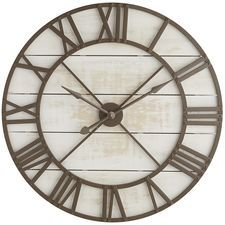Oversize White Rustic Wall Clock