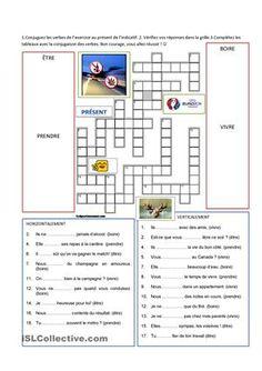 Réviser le présent de 4 verbes avec des mots croisés et des expressions de la vie courante. Des photos pour faire parler les apprenants qui peuvent utiliser les verbes. Avec solutions. - Fiches FLE
