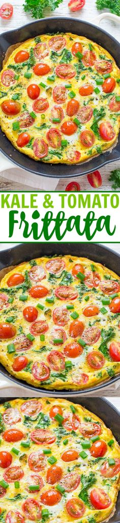 Kale and Tomato Frittata - Extremely EASY, ready in 10 minutes, and HEALTHY!! Perfect for breakfast, brunch, or easy weeknight dinners because you can whip it up in minutes!!