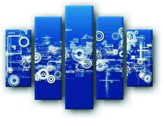 DecoArt24.pl Pięcioczęściowy obraz na płótnie zatytułowany Graficzna abstrakcja II.  Autorstwa: Anson Tsui Cena 299.00