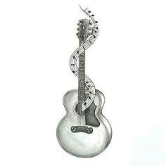 Memorial guitar tattoo idea