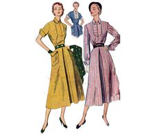 Simplicity 3059 40s Shirtwaist Dress Pattern with Inverted by allthepreciousthings