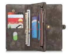 CaseMe 008 iPhone 6S Plus Zipper Wallet Detachable 2 in 1 Folio Case Black