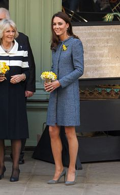 Queen Elizabeth II, Camilla, Duchess Of Cornwall and Catherine, Duchess Of Cambridge visit Fortnum and Mason store on Piccadilly. The Royal Trio smiled as they walked out the shop to loud cheers from the large crowd that gathered outside the shop. Catherine Middleton wore a blue coat by Italian label Missoni and shoes by Rupert Sanderson. Catherine Middleton The Duchess Of Cambridge also sported two daffodils on her lapel in honour of St Davids day. The Queen Elizabeth II also unveiled a…