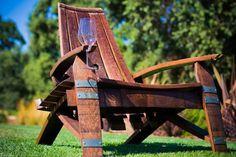 Wine barrel adirondack chair with wine glass holder