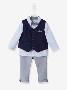 Vertbaudet Baby Jungen, festliches Anzug-Set, 4 Teile in einfarbig dunkelblau