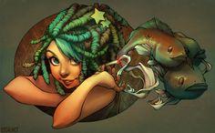'Smoking Fish' - Lois Van Baarl @ Loish.net