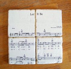 Music sheet coasters of your wedding song or favorite song