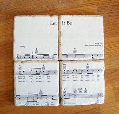 Coasters using sheet music