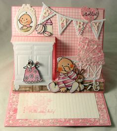 Card made by DT member Gudrun with among others Creatables Flags (LR0329), Sweet Cabinet (LR0314) and Collectables Eline's Baby (COL1313) by Marianne Design