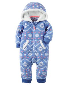 Super soft and cozy, this zip-up printed fleece jumpsuit keeps her warm from dusk to dawn. Ribbed cuffs, a kanga pocket and a velboa-lined hood…