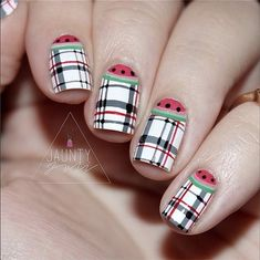 This gingham-watermelon manicure is perfect for a picnic.