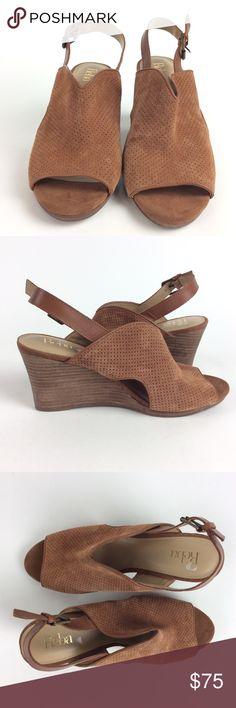 Reba Women's Anny Peep-Toe Wedge Sandal Material: Leather  Color: Brown  Specifics: Peep-Toe Sling Back Wedge Heel Sandal  Style: Wedges  Cleaning/Care: Spot Clean  Heel: Approximately 3.25 inches Sku: S074 Reba Shoes Wedges
