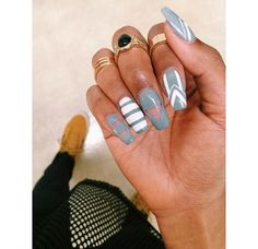 ❤ Grey and white negative space coffin nails