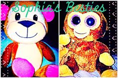 My daughter's first two toys: both won at Dave and Busters lol. 2015 is the year of the monkey, my little sea monkey:)