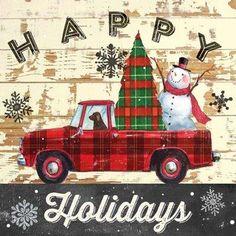 Tartan Christmas, Christmas Truck, Vintage Christmas Cards, Christmas Love, Country Christmas, Christmas Signs, Christmas Pictures, Christmas Snowman, Winter Christmas