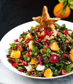 Christmas Tree Holiday Salad. You don't need frozen grapes or special mandarines. I used regular grapes and tangerines. It was so good. Takes a long time to chew through. Will fill you fast!