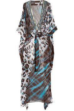 Diane Von Furstenberg Anushka Embellished Silk-chiffon Maxi Kaftan in Blue (multicolored)