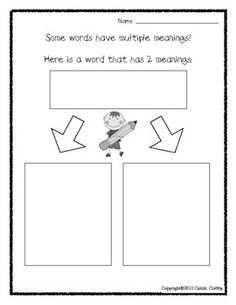 math worksheet : 1000 images about multiple meaning words on pinterest  multiple  : Multiple Meaning Word Worksheet