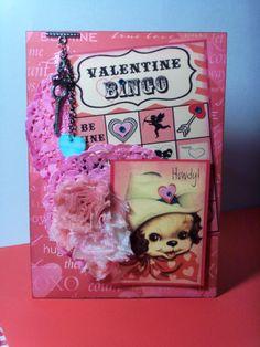 Theresa's Bingo Valentine Banner Valentine Banner, Valentines Day, Valentine Cards, Bingo Cards, Altered Art, Mixed Media, Banners, Fun, Valentine's Day Diy