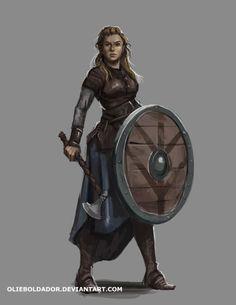 char-portraits:Commission: Viking Woman by OlieBoldador
