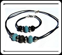 PARURE Homme Ethnique en Cuir noir et pierre de gemmes Lave , perles du bois et argent tibetain : Bijoux pour hommes par camelys-bijoux