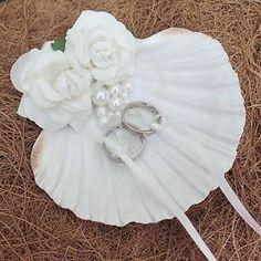 Natural Shell Beach Wedding Ring Holder Bearer Pillow Box Cushion Alternative