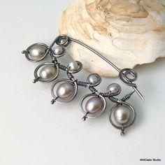 Declaración perla gris plata broche, gran artesano orfebrería de plata Pin con la colección perla de agua dulce, elegante regalo para ella, ...