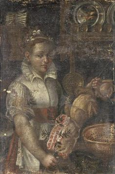 See the white washed deception Circle of Vincenzo Campi (Cremona A young woman cooking meat in a kitchen interior Italian Outfits, Italian Clothing, Italian Fashion, Annibale Carracci, Roman Era, Italian Women, Historical Artifacts, Italian Renaissance, Historical Pictures