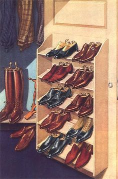 For keeping shoes organized in small spaces attach a shelf on the inside of a closet door.