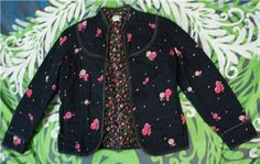 RARE Anthropologie 2002 Calico Quilted Jacket Coat Top Boho Odille s 4 | eBay