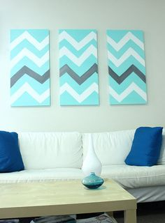 Chevron art in aqua, white and contrasting black.