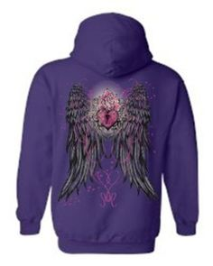 Amazon.com: Women's/Unisex Pullover Hoodie Beautiful Angel Wings With Heart Lock And Rose PURPLE (XXL): Clothing