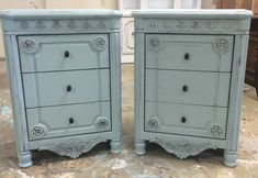 """Here are some over-sized nightstands that I painted serenity blue. I have a matching dresser, chest of drawers and King size bed too. smile emoticon What do you think? The dimensions are 24"""" L, 18"""" W, 33.5"""" H. Asking price $350. Interested? Call/Txt me 281-917-0332.  https://www.pinterest.com/shabbychictexas/my-shabby-chic-nightstands"""