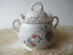 Vintage Pink Blue Porcelain Biscuit Jar by thechinagirl on Etsy