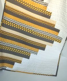 Grey and Yellow Modern Baby Quilt by SWDesignsBaby on Etsy