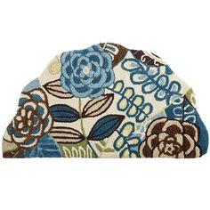 Cloud Step® Blue Floral Scallop Memory Foam Rug