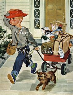 """Little Boy and Dog Running Away From Home, """"That's IT, We're Outta Here"""" Wall Art, Wall Hanging #10"""
