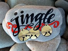 jingle bells / painted rocks / painted stones / holiday decor / christmas decorations / art on stones / beach stones / bells by LoveFromCapeCod on Etsy