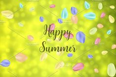 Flying random, chaotic colorful petals on green bokeh, defocused background with Happy Summer text.