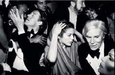 Ca 1976  - Halston Bianca Jagger Andy Warhol at the Studio 54