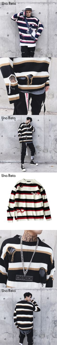 Una Reta Sweater Men 2017 New Fashion casual pullover Color stripes Street style Hip hop Long sleeve sweaters Hole Knitted Tops
