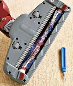 If your vacuum cleaner is clogged with hair, string, or fabric, use a seam ripper to help clean it out