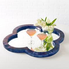 Lapis Blue Bone Tiled Quatrefoil Mirror @Zinc_Door